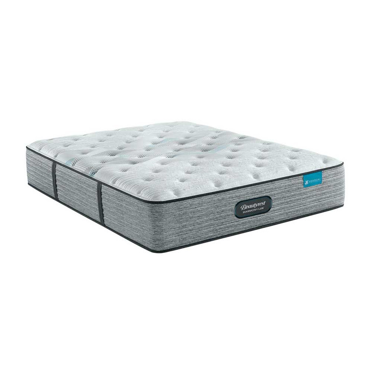 three-quarters view of the Beautyrest Harmony Lux Carbon Medium mattress. Pictured in full size but also available in twin, queen, eastern king, and California king