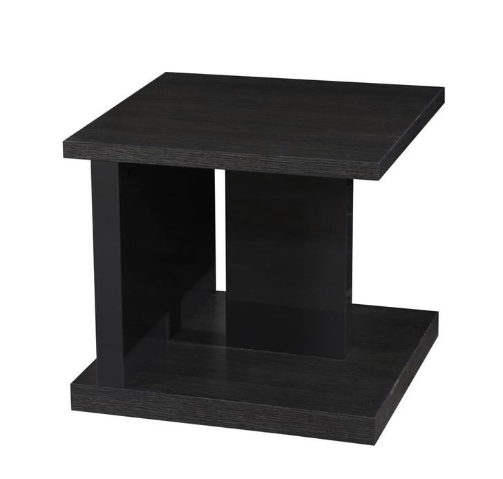 left facing view of a geometric end table in dark walnut veneer.