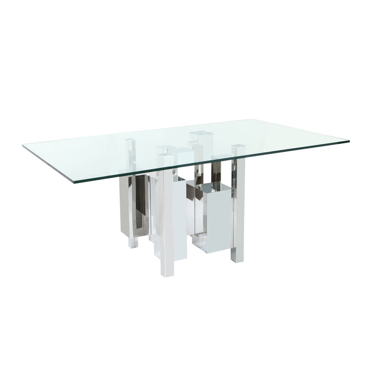 slightly right facing view of a dining table with a clear glass top and a unique geometric steel base.