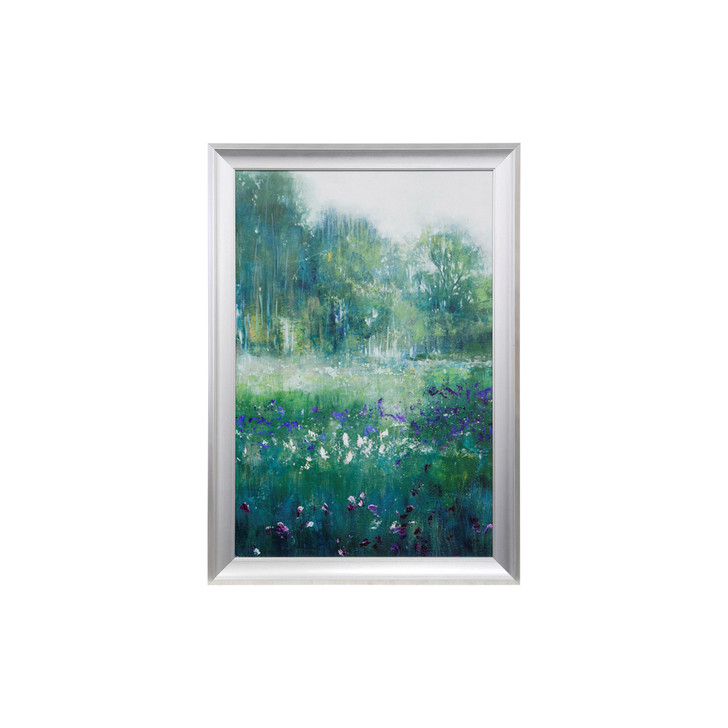 art piece showing a filed with white and blue flowers and trees in the background