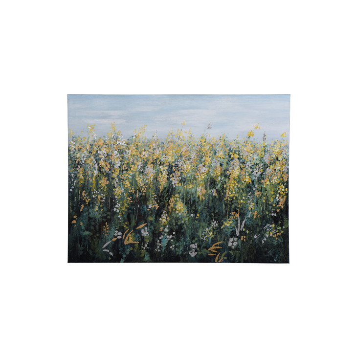 art piece with a field of white and yellow flowers