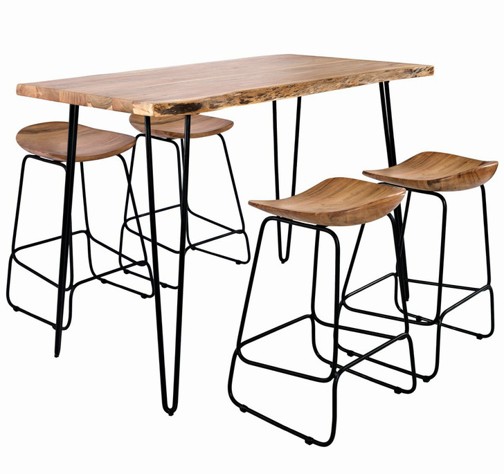 natural wood counter table with iron legs. Four stools also with iron legs
