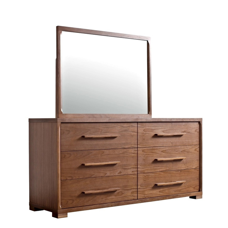 wood double dresser with six drawers