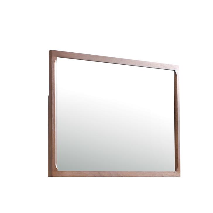 simple rectangular wood veneer mirror