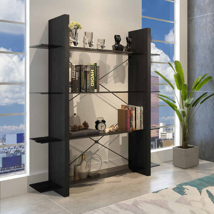 dark wood bookcase with four shelves and metal accents.