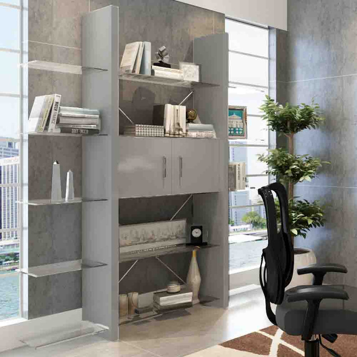 gray six level bookcase with shelving and cabinets in an office