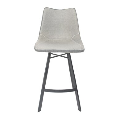 tall counter stool upholstered in grey fabric with dark metal legs