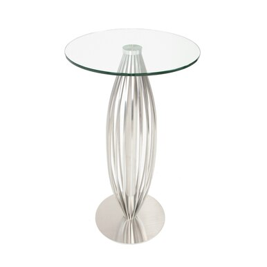 Steel base bar table with glass top
