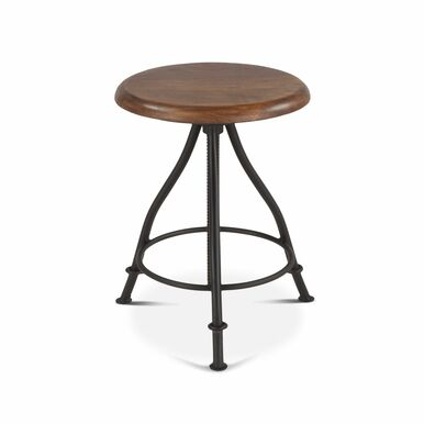 industrial bar table with metal legs and wooden seat