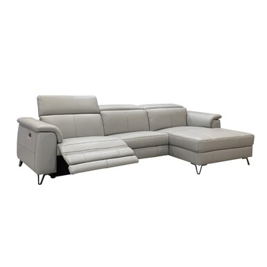 light grey leather sectional with recliner on the left, a chaise on the right, and metal legs off.
