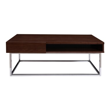 dark brown wood coffee table with drawers and silver legs and base