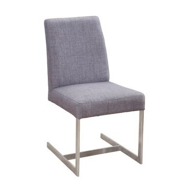 minimalistic dining chair with steel legs and grey fabric