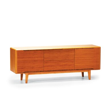 cherry colored wood buffet and sideboard