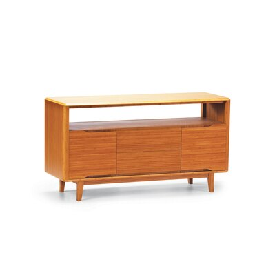 light brown cherry wood wall unit with three cabients and a shelf under the top.