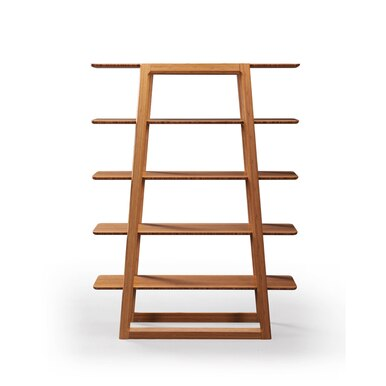 bamboo wood geometric bookcase with five shelves
