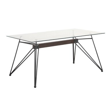 modern glass dining table with steel legs
