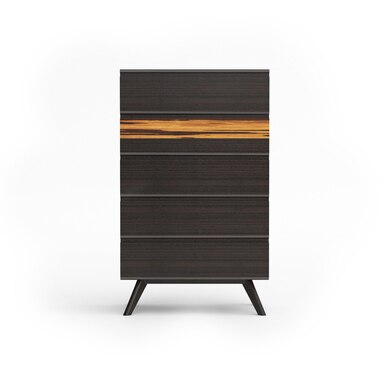 modern, dark wood high chest with five drawers and two legs