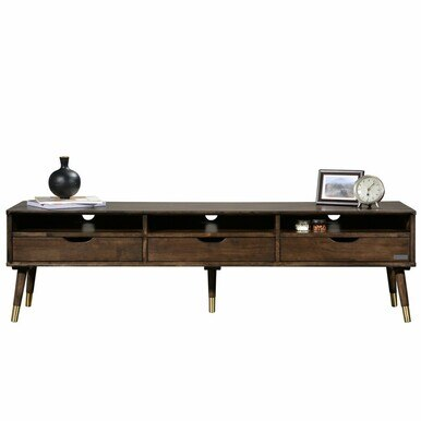 large tv stand with three drawers and three shelves with decorative items on top