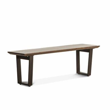 dark wood bench with steel legs