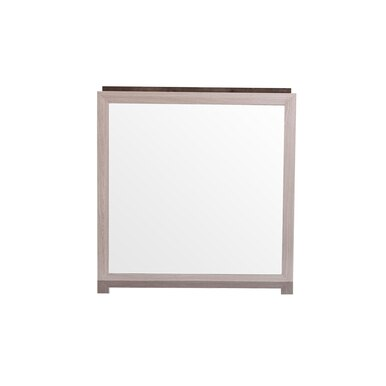 light wood bordered mirror