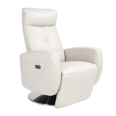 white reclining armchair with reclining option and silver colored metal base