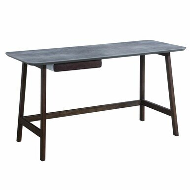 sleek wood desk with a small drawer under the top