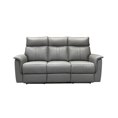 three seat reclining grey sofa