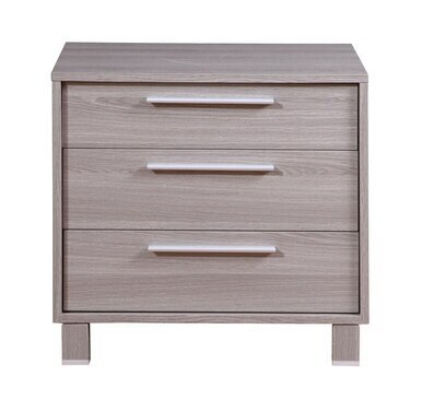 light grey melamine nightstand with three drawer; each drawer is a different size and has a sleek silver handle
