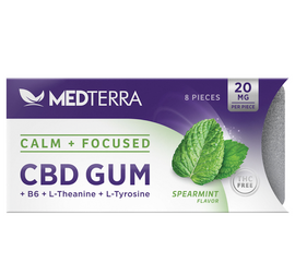 A major chewing gum upgrade and your secret to smoother sailing through topsy-turvy days. Chewing Medterra Calm + Focused CBD Gum is a tasty and discreet way to keep your cool while you're tackling life's shifting priorities and responsibilities. With 20mg of CBD combined with nootropics L-theanine, L-tyrosine, and vitamin B6, this is a formulation like no other, designed to ease your mind.