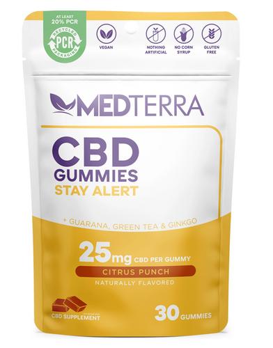 Medterra Stay Alert CBD Energy Gummies -Citrus Punch - 25 mg