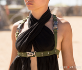 Post-apocalyptic military harness womens ladies olive