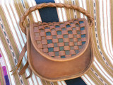 Western Saddle Bag Purse Brown Leather Woven