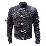 Leather Canvas Jacket Black Mens Distressed Fraktur Mark II