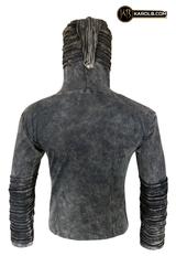 Slit hoodie black industrial hooded sweatshirt unisex