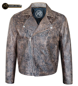 Souls of the Damned Skull Embossed Leather Motorcycle Jacket