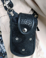 Black shoulder holster leather harness bag wallet spikes cyberpunk