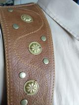 Structure shoulder holster leather harness bag wallet rosette brown