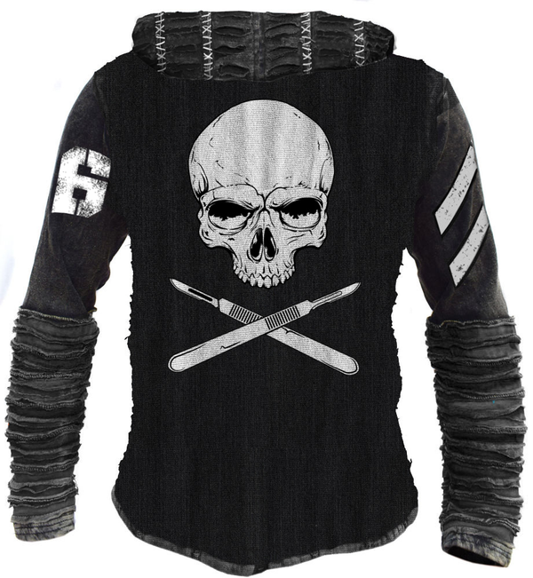 Razor hoodie black industrial hooded sweatshirt skull scalpels unisex