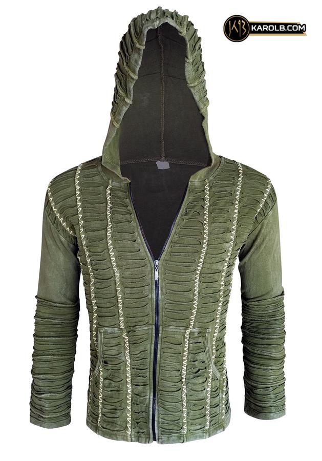 Slit hoodie olive industrial hooded sweatshirt unisex