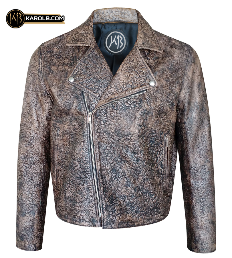 Souls of the Damned Skull Embossed Aged Leather Motorcycle Jacket