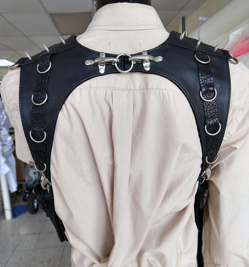 Shoulder holster leather harness bag wallet cyberpunk