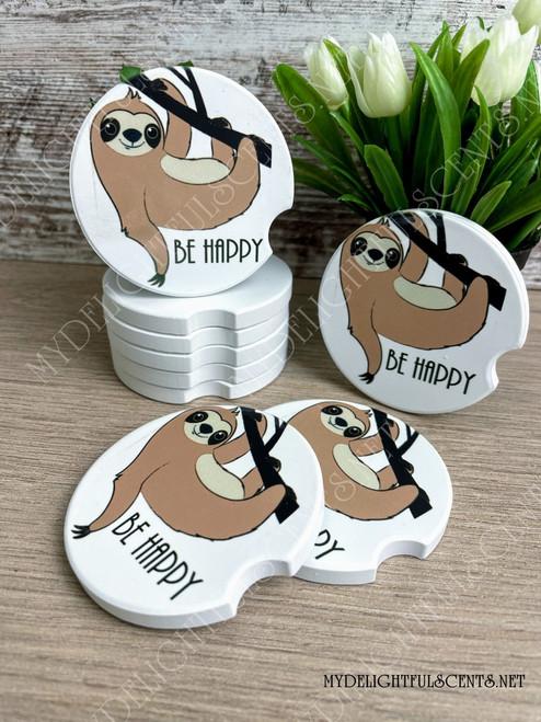 Sloth, Be Happy car coaster