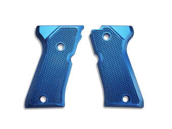 The Cornerstone grips are just that: our Cornerstone. They feature a traditional checkering pattern that provides excellent traction in whatever environment you may find yourself in. The Cornerstone grips are equally at home on your competition gun, bed stand gun, and are also comfortable enough to use on your EDC without rubbing your skin raw.   Precision machined from 6061 aircraft aluminum and Type II custom anodized in house, right here in the USA.