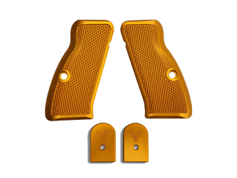 This matching set of grips and base pads fit CZ 75 compact style guns, and the base pads fit Mecgar 15rd & 17rd magazines.  The Cornerstone grips are just that: our Cornerstone. They feature a traditional checkering pattern that provides excellent traction in whatever environment you may find yourself in. The Cornerstone grips are equally at home on your competition gun, bed stand gun, and are also comfortable enough to use on your EDC without rubbing your skin raw.