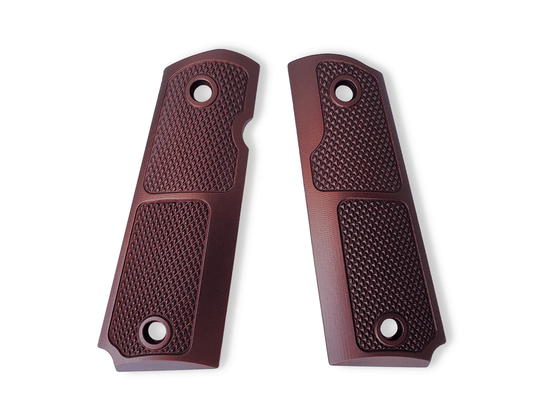 Our Generation 1 1911 grips feature a traditional and effective checkering pattern with a modern design. They fit government and commander size 1911's and variants, and each pair are cut for an ambidextrous thumb safety.