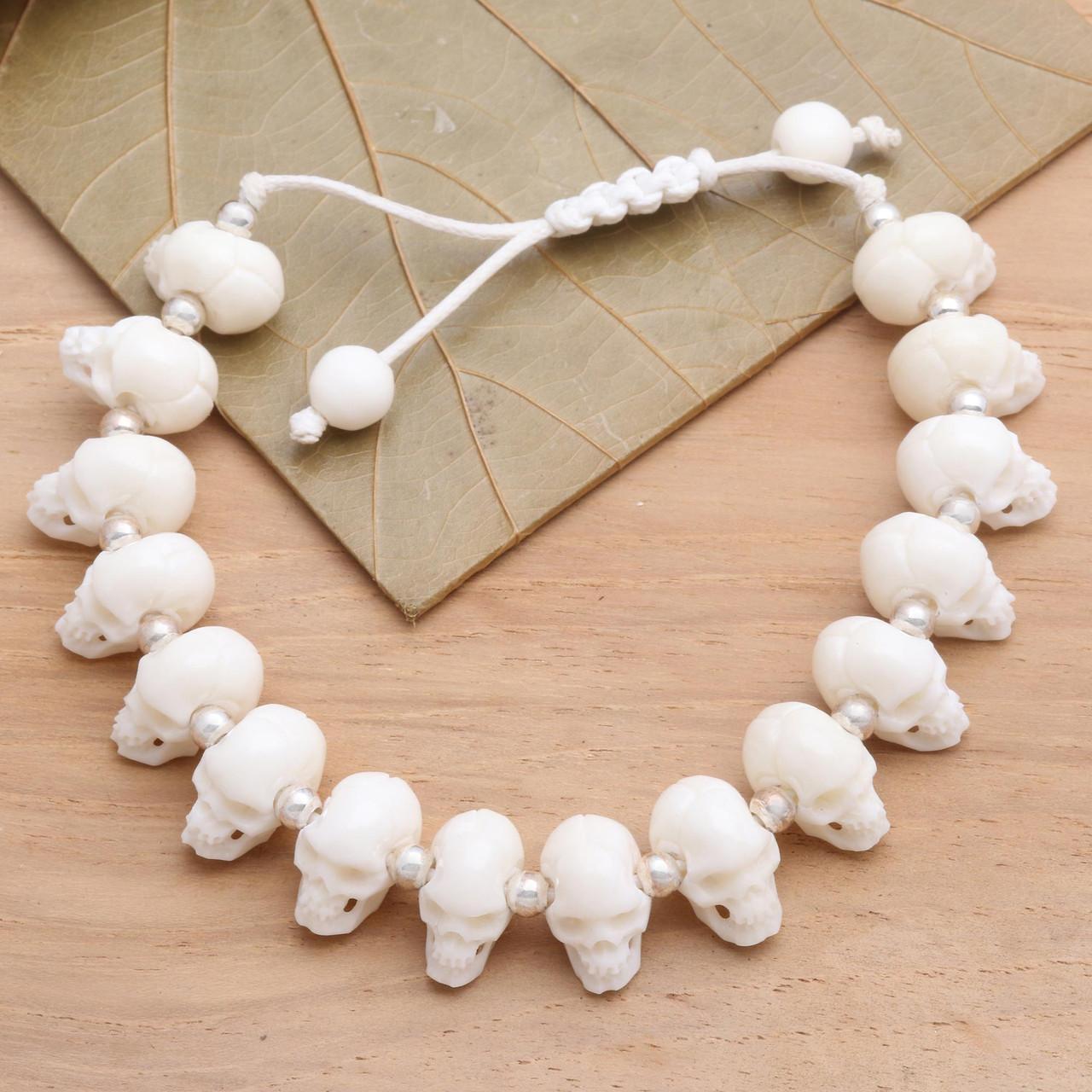 Hand Carved Bone Skull Bead Bracelet Bone Collector Road Scholar World Bazaar