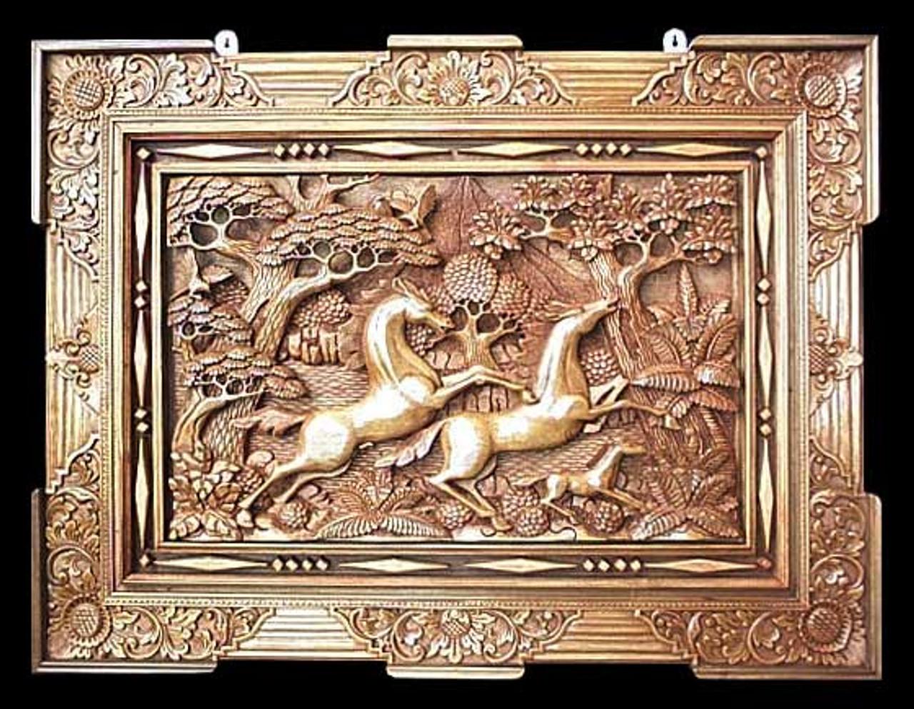 Hand Made Wood Relief Panel Racing Horses Road Scholar World Bazaar