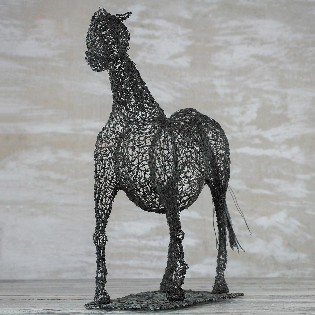 Steel Wire Sculpture Of A Horse Crafted In Ghana Modern Horse Road Scholar World Bazaar