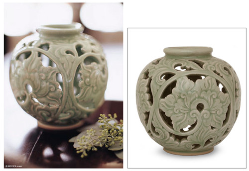 Celadon ceramic vase 'Ivy'