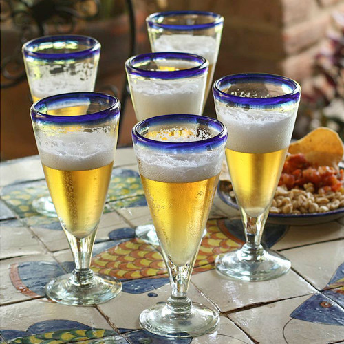 Artisan Crafted Recycled Handblown Blue Rim Beer Glasses 'Bohemia'